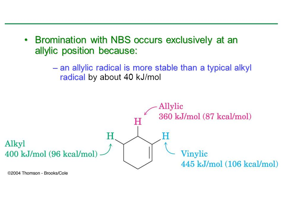 Bromination with NBS occurs exclusively at an allylic position because: