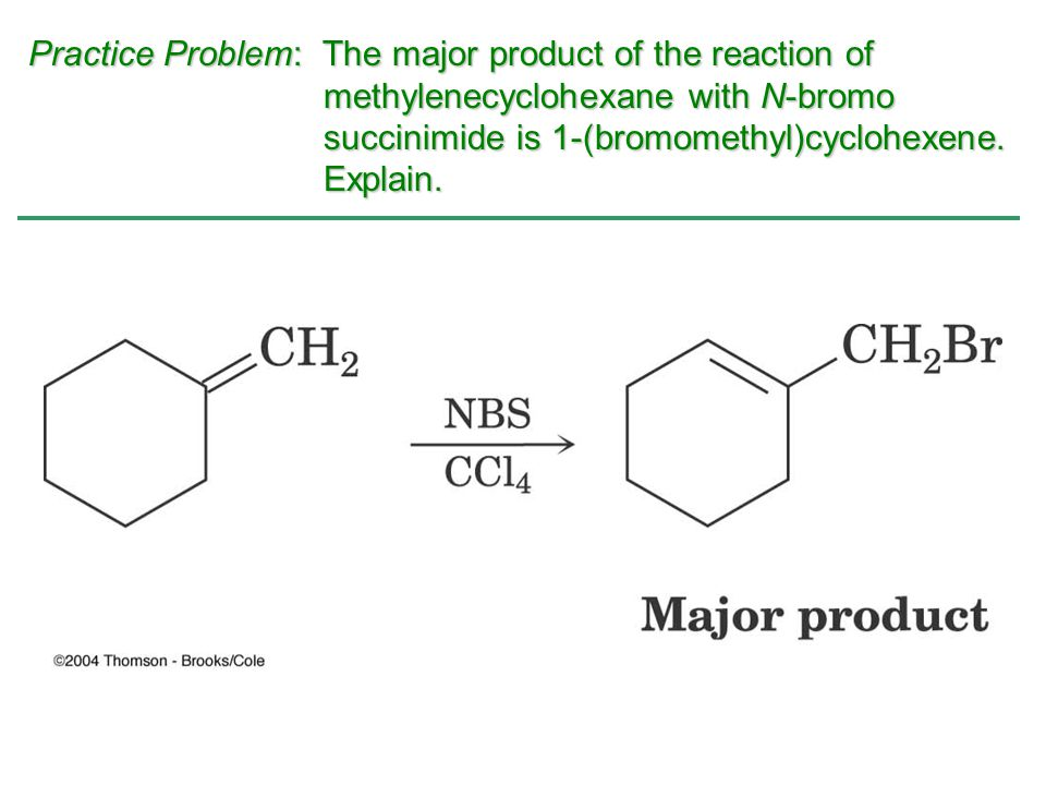 Practice Problem: The major product of the reaction of