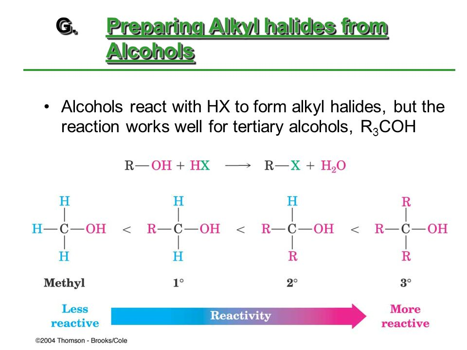 G. Preparing Alkyl halides from Alcohols