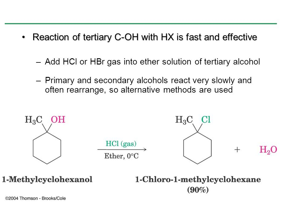 Reaction of tertiary C-OH with HX is fast and effective