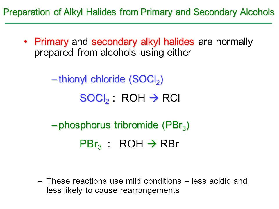 Preparation of Alkyl Halides from Primary and Secondary Alcohols