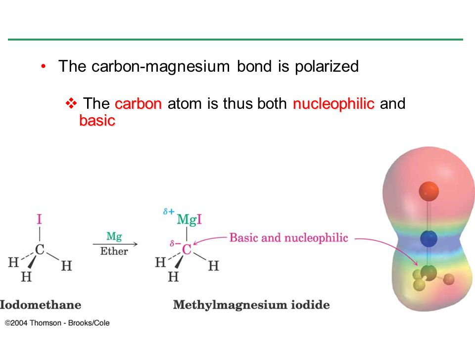 The carbon-magnesium bond is polarized