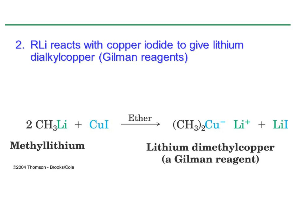 RLi reacts with copper iodide to give lithium dialkylcopper (Gilman reagents)
