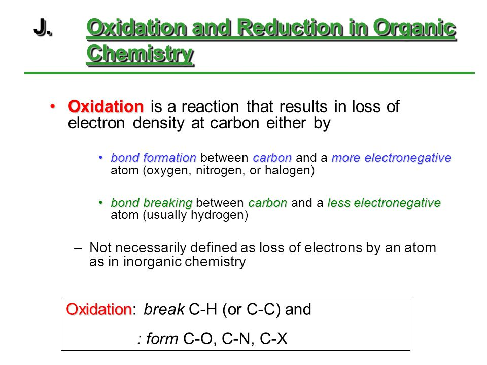 J. Oxidation and Reduction in Organic Chemistry