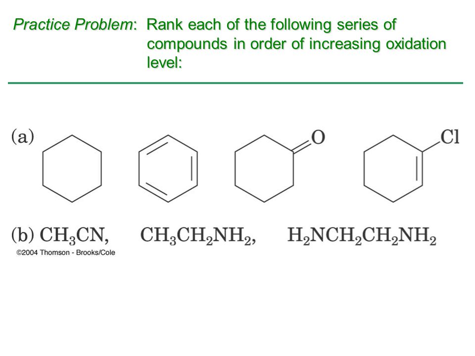 Practice Problem: Rank each of the following series of