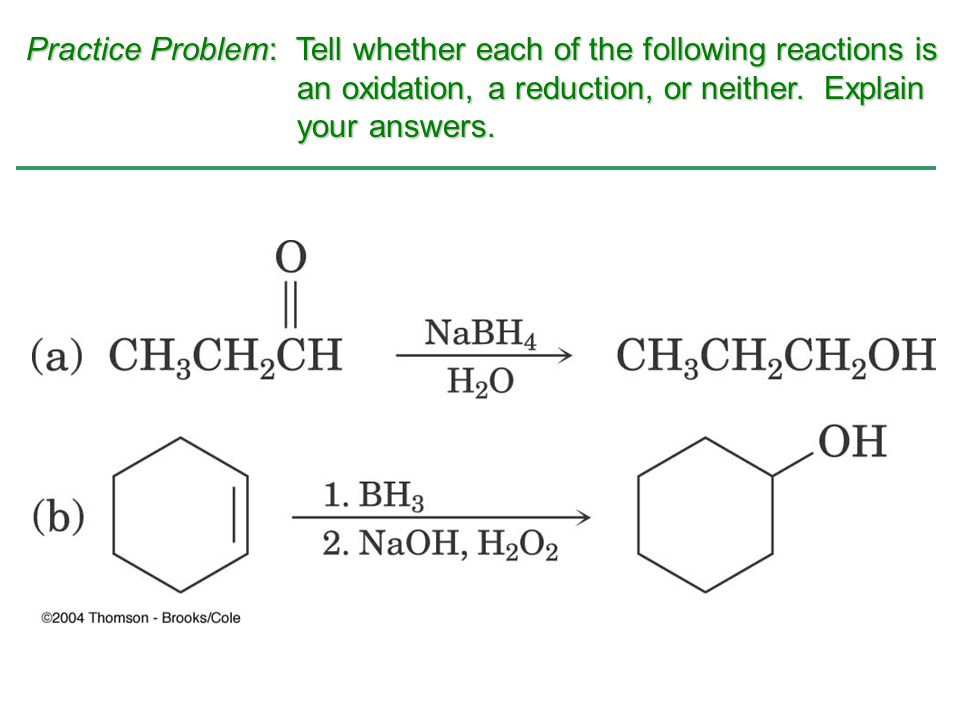 Practice Problem: Tell whether each of the following reactions is
