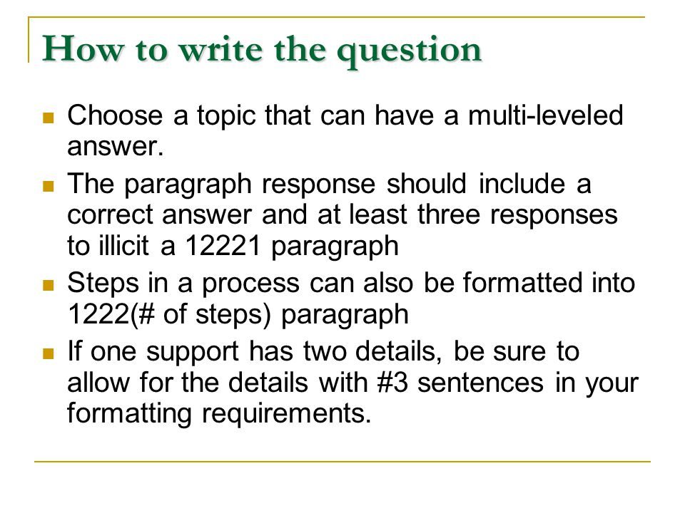 How to write the question