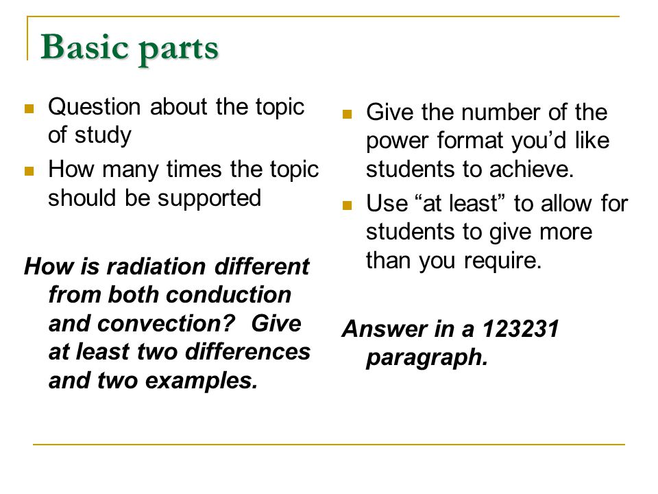 Basic parts Question about the topic of study