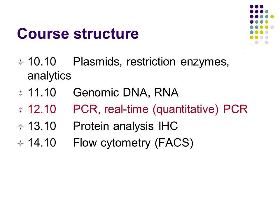 Course structure 10.10 Plasmids, restriction enzymes, analytics
