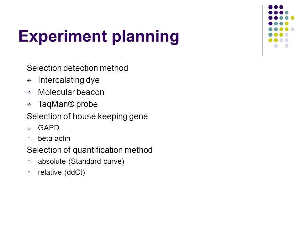 Experiment planning Selection detection method Intercalating dye