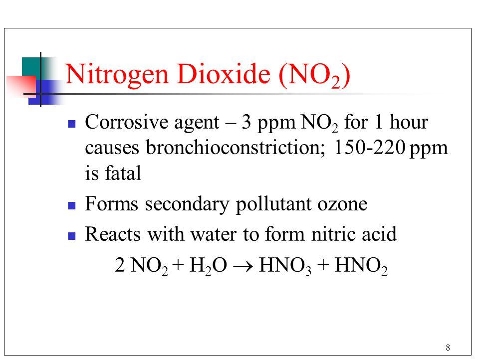 Nitrogen Dioxide (NO2) Corrosive agent – 3 ppm NO2 for 1 hour causes bronchioconstriction; 150-220 ppm is fatal.