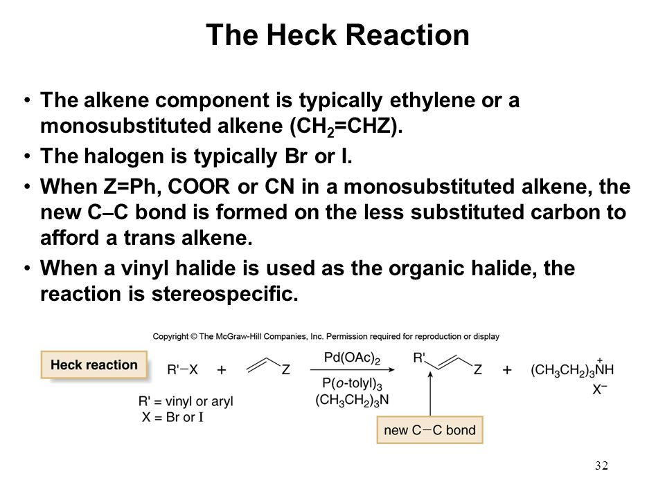 The Heck Reaction The alkene component is typically ethylene or a monosubstituted alkene (CH2=CHZ).