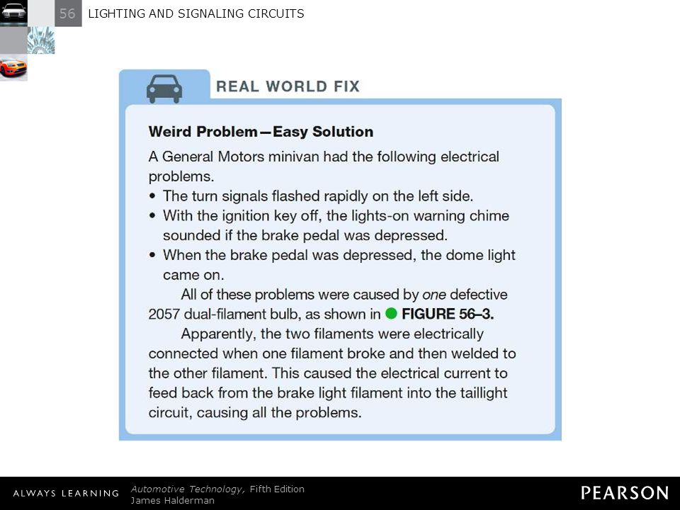 REAL WORLD FIX: Weird Problem—Easy Solution A General Motors minivan had the following electrical problems. • The turn signals flashed rapidly on the left side. • With the ignition key off, the lights-on warning chime sounded if the brake pedal was depressed. • When the brake pedal was depressed, the dome light came on. All of these problems were caused by one defective 2057 dual-filament bulb, as shown in - FIGURE 56–3. Apparently, the two filaments were electrically connected when one filament broke and then welded to the other filament. This caused the electrical current to feed back from the brake light filament into the taillight circuit, causing all the problems.