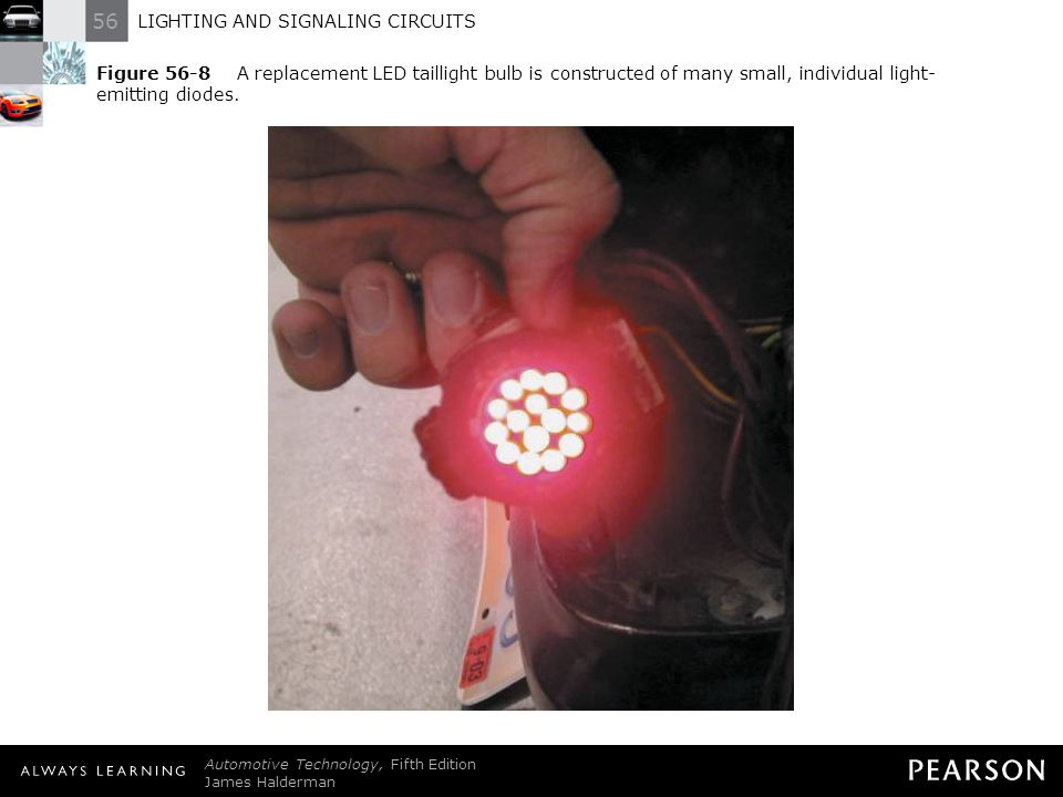 Figure 56-8 A replacement LED taillight bulb is constructed of many small, individual light-emitting diodes.