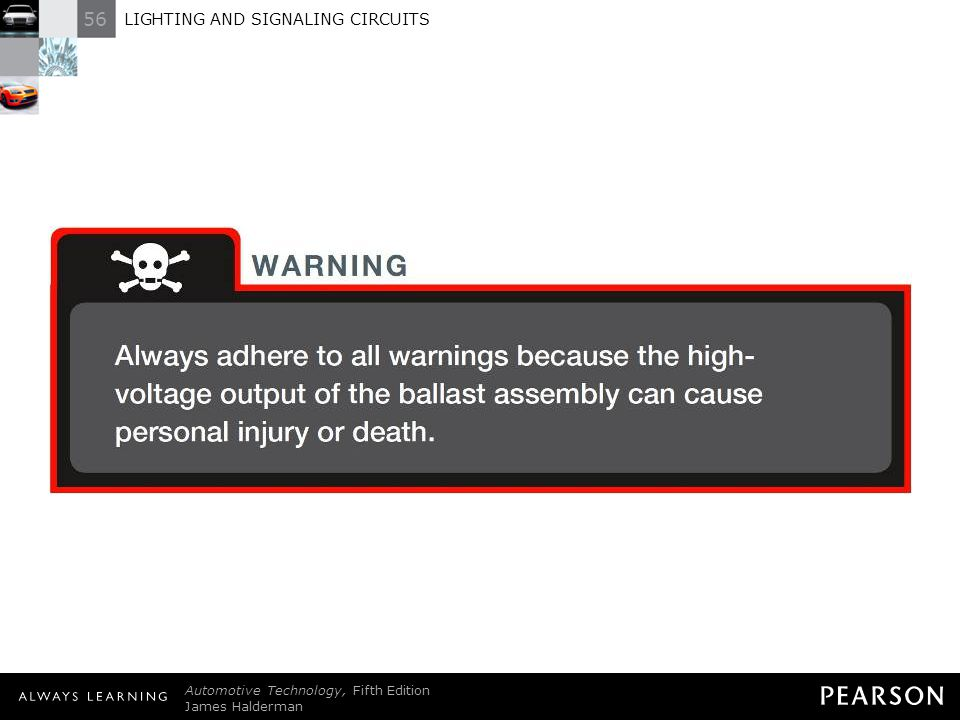 WARNING: Always adhere to all warnings because the highvoltage output of the ballast assembly can cause personal injury or death.