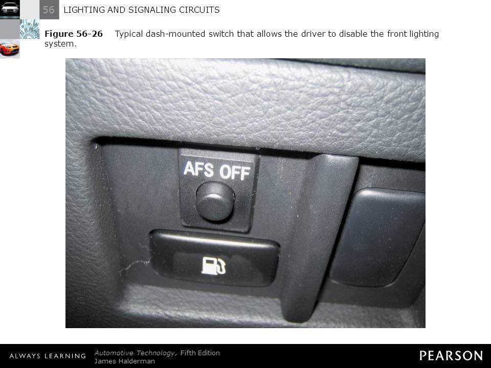 Figure 56-26 Typical dash-mounted switch that allows the driver to disable the front lighting system.