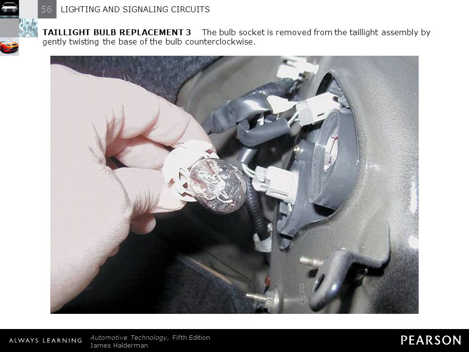 TAILLIGHT BULB REPLACEMENT 3 The bulb socket is removed from the taillight assembly by gently twisting the base of the bulb counterclockwise.