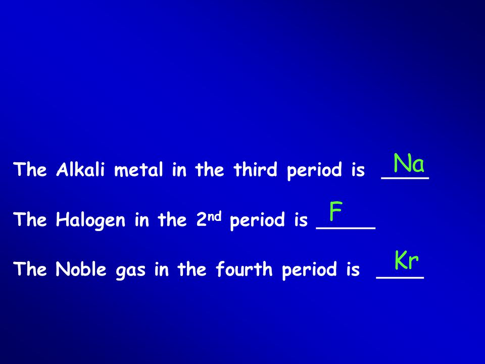 Na F Kr The Alkali metal in the third period is ____