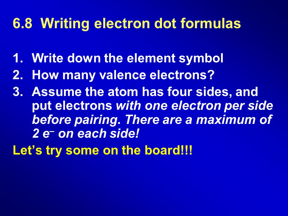 6.8 Writing electron dot formulas