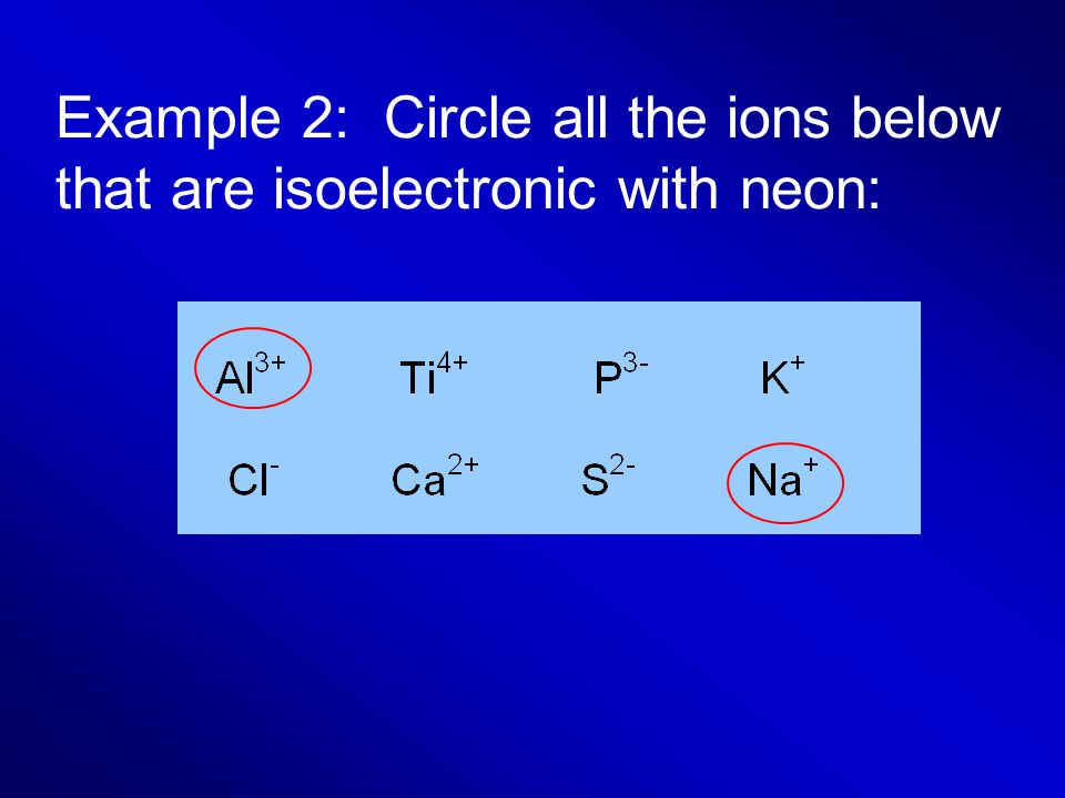 Example 2: Circle all the ions below that are isoelectronic with neon:
