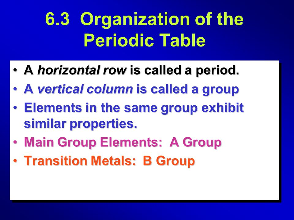 6.3 Organization of the Periodic Table