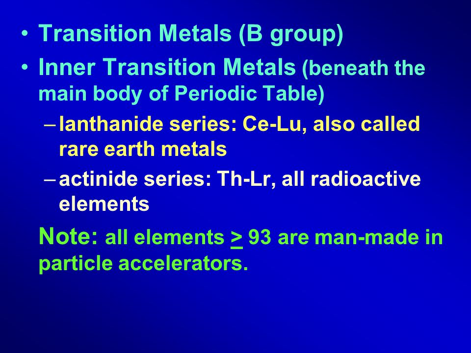 Transition Metals (B group)