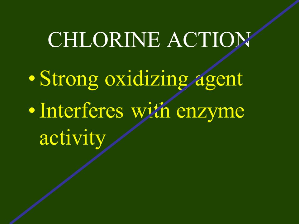 CHLORINE ACTION Strong oxidizing agent Interferes with enzyme activity