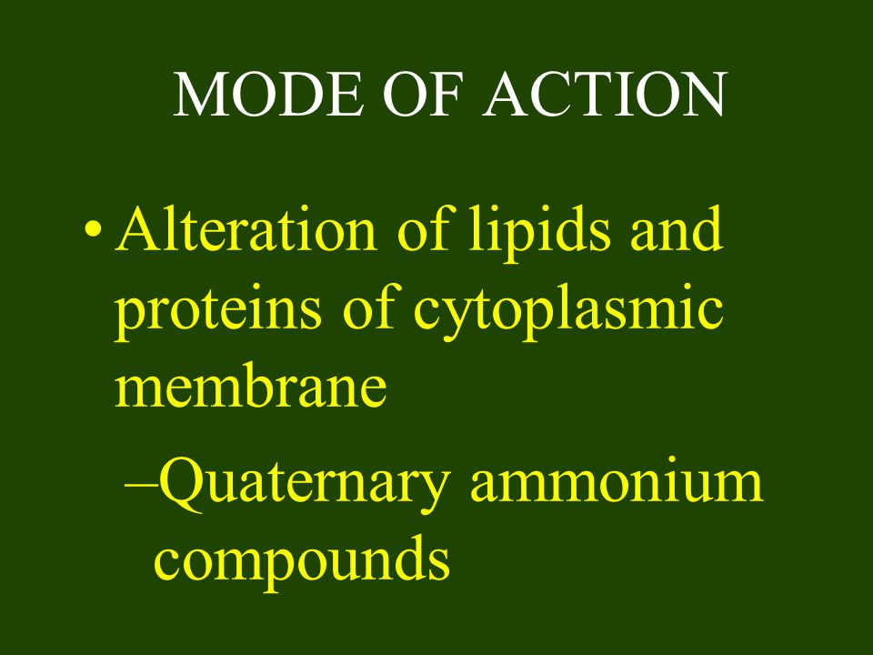 MODE OF ACTION Alteration of lipids and proteins of cytoplasmic membrane.