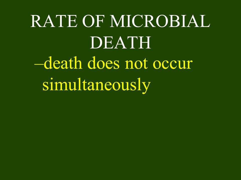 RATE OF MICROBIAL DEATH