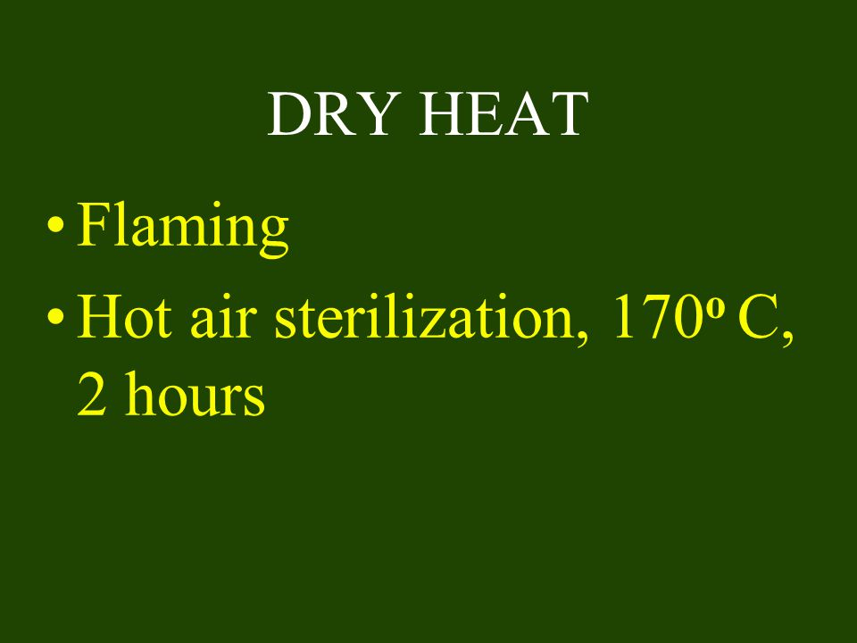 DRY HEAT Flaming Hot air sterilization, 170o C, 2 hours