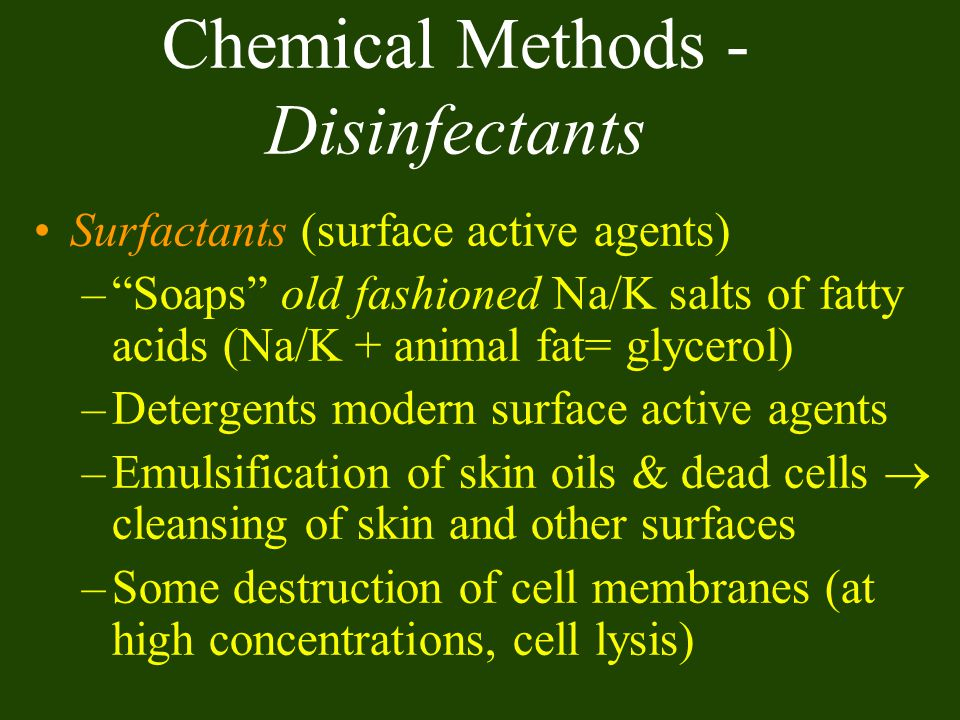 Chemical Methods -Disinfectants