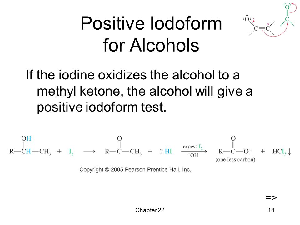 Positive Iodoform for Alcohols