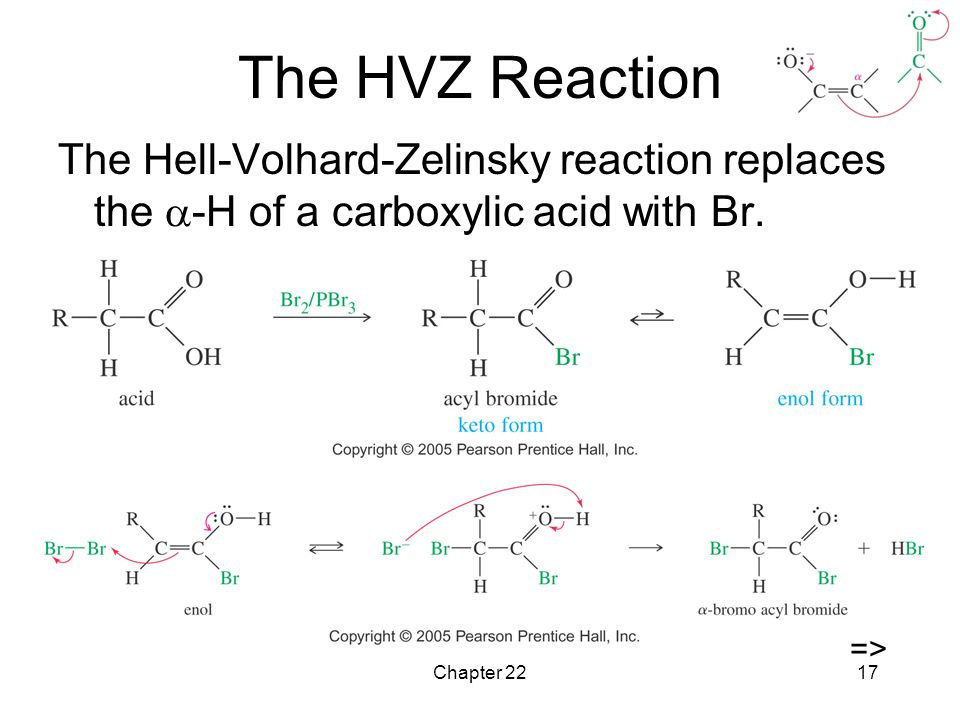 The HVZ Reaction The Hell-Volhard-Zelinsky reaction replaces the -H of a carboxylic acid with Br. =>