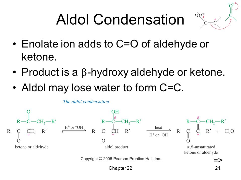 Aldol Condensation Enolate ion adds to C=O of aldehyde or ketone.