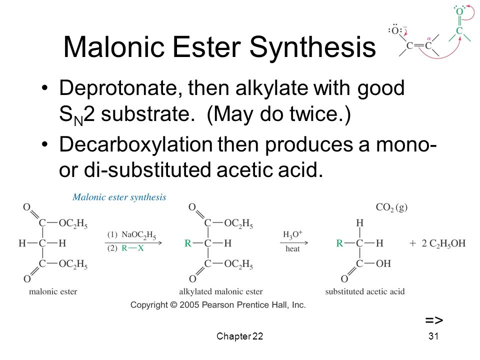 malonic ester synthesis Synthetic scheme for total synthesis of steganacin  ester synthesis •  carboxester enolate+alkyl-x • alkyl-x+enolate • malonic ester synthesis •  carboxester.