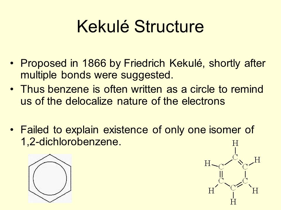 Kekulé Structure Proposed in 1866 by Friedrich Kekulé, shortly after multiple bonds were suggested.
