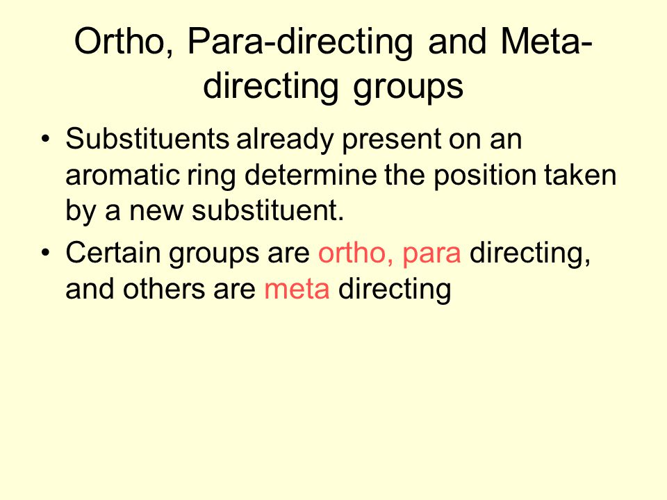 Ortho, Para-directing and Meta-directing groups