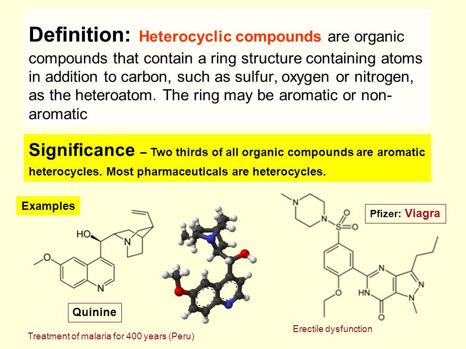 Definition: Heterocyclic compounds are organic compounds that contain a ring structure containing atoms in addition to carbon, such as sulfur, oxygen or nitrogen, as the heteroatom. The ring may be aromatic or non-aromatic