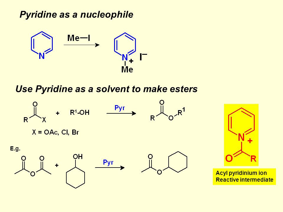 Pyridine as a nucleophile