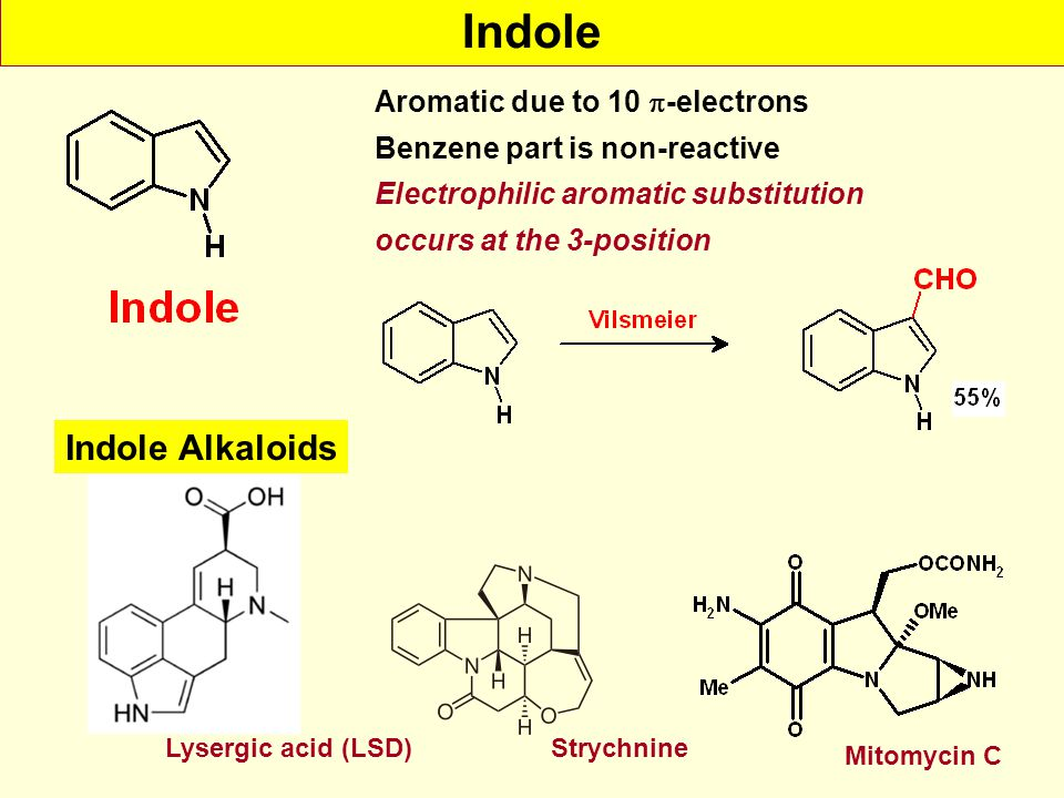 Indole Indole Alkaloids Aromatic due to 10 -electrons