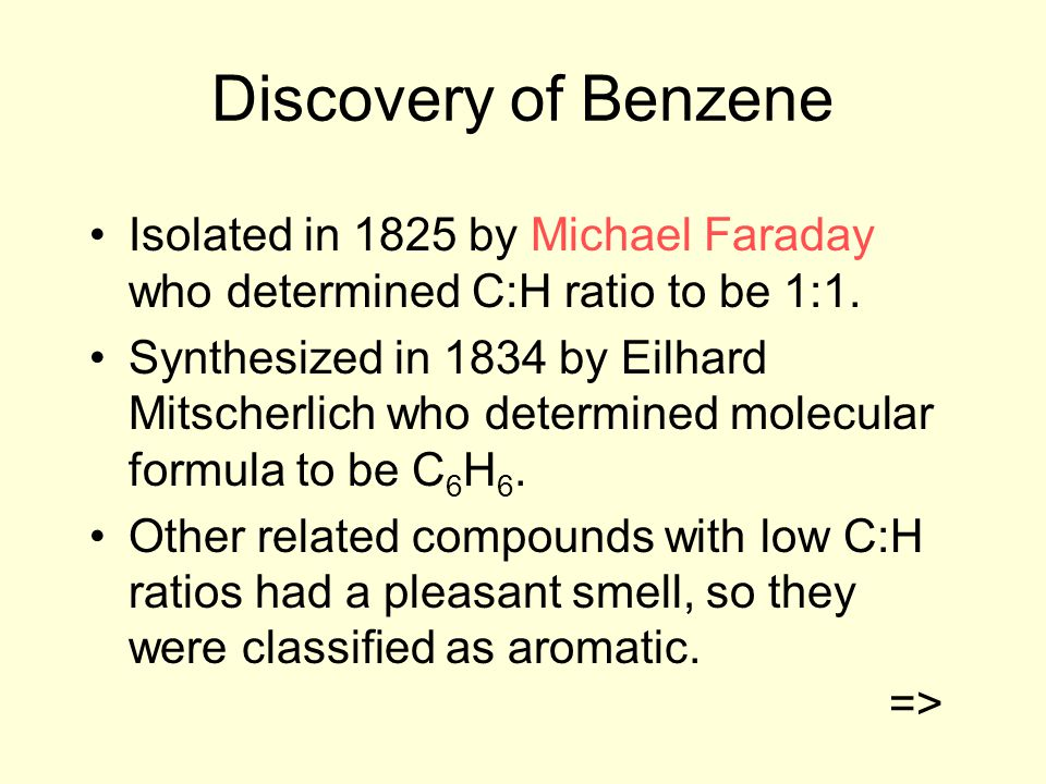 Discovery of Benzene Isolated in 1825 by Michael Faraday who determined C:H ratio to be 1:1.