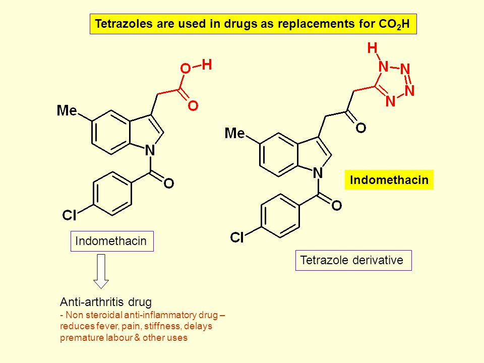 Tetrazoles are used in drugs as replacements for CO2H