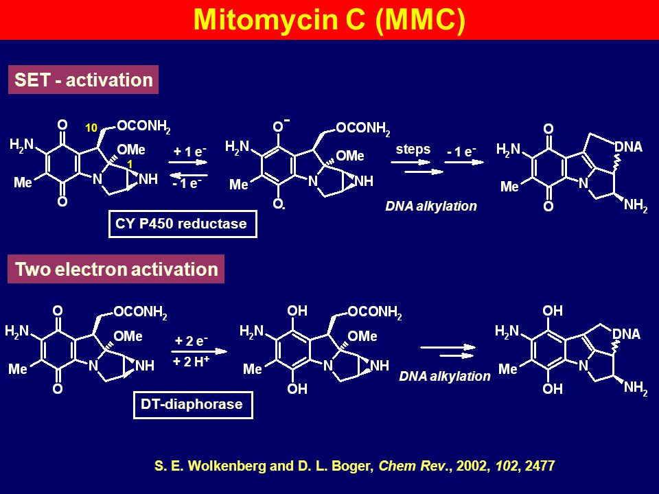 Mitomycin C (MMC) SET - activation Two electron activation + 1 e-