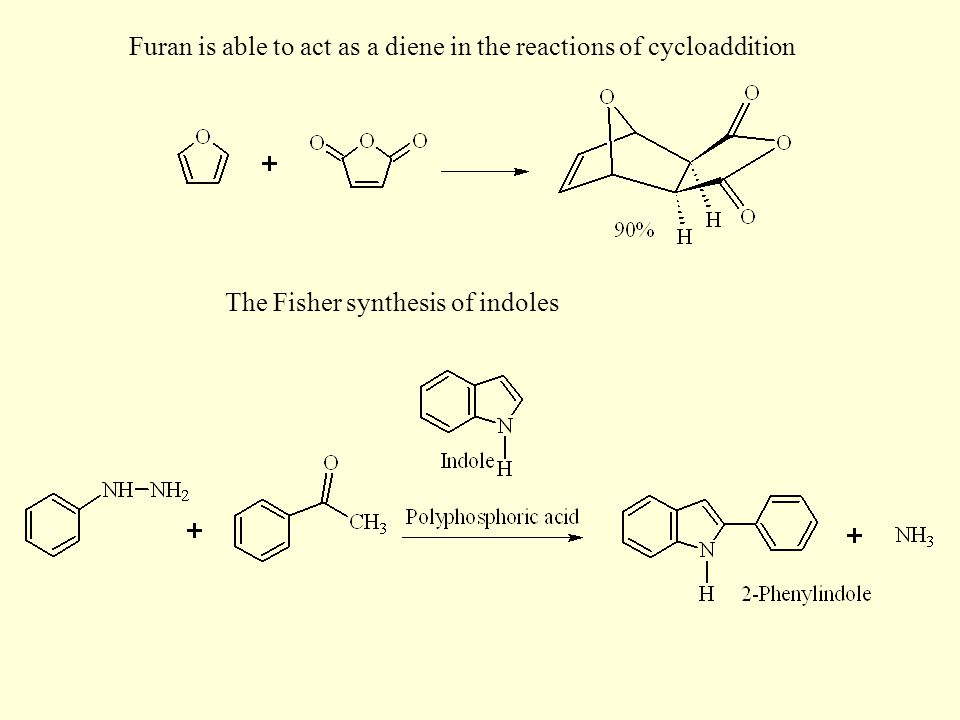 Furan is able to act as a diene in the reactions of cycloaddition