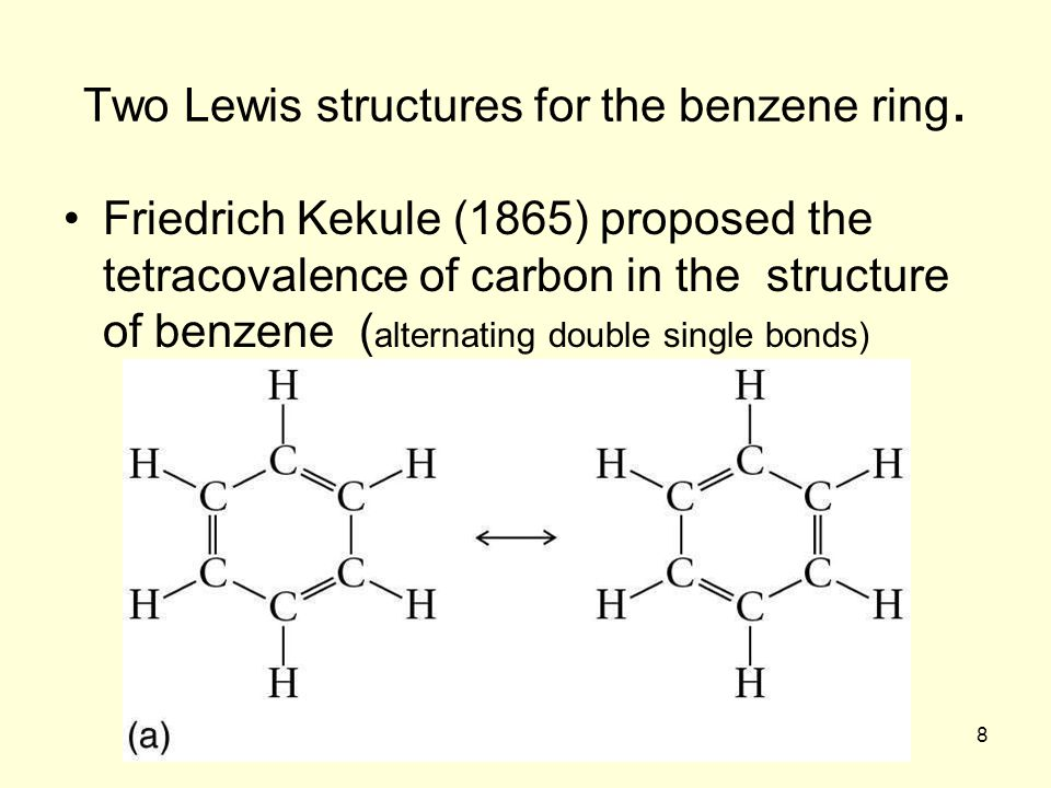 Two Lewis structures for the benzene ring.