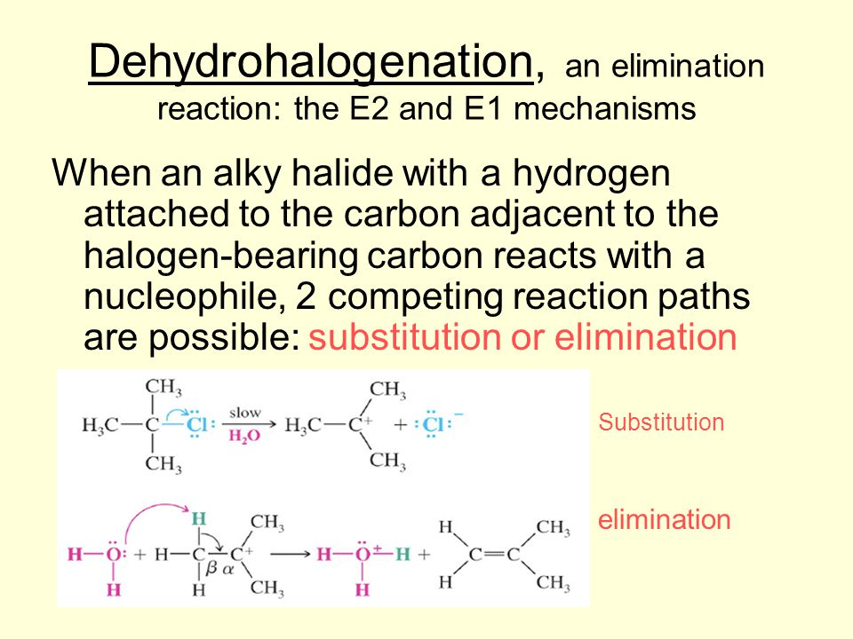 Dehydrohalogenation, an elimination reaction: the E2 and E1 mechanisms