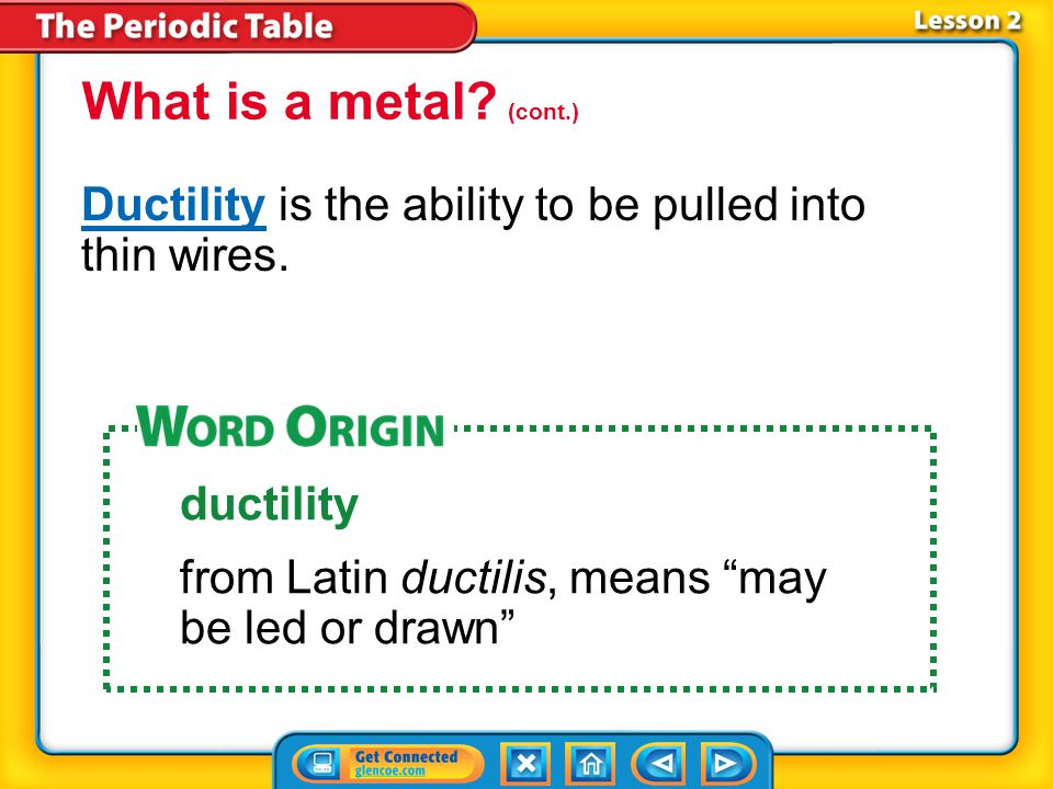 What is a metal (cont.) Ductility is the ability to be pulled into thin wires. ductility. from Latin ductilis, means may be led or drawn