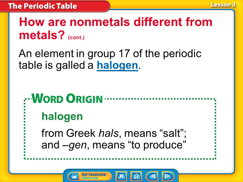 How are nonmetals different from metals (cont.)