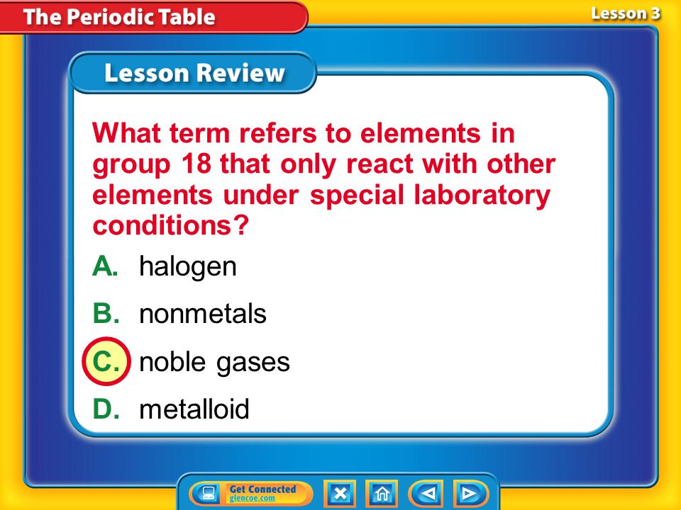 What term refers to elements in group 18 that only react with other elements under special laboratory conditions