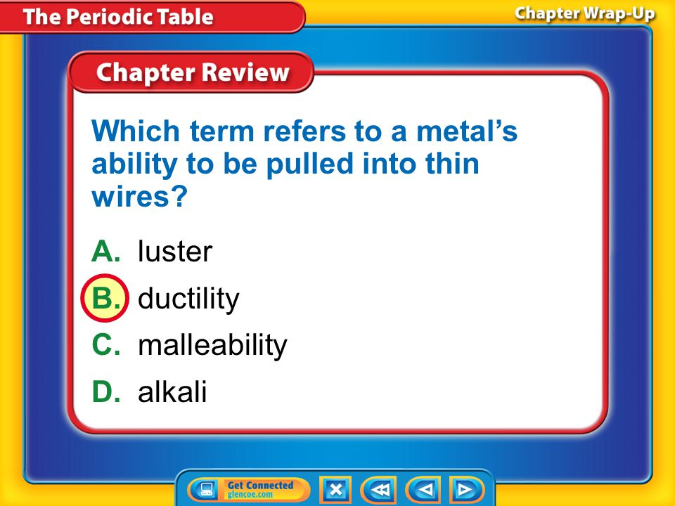 Which term refers to a metal's ability to be pulled into thin wires